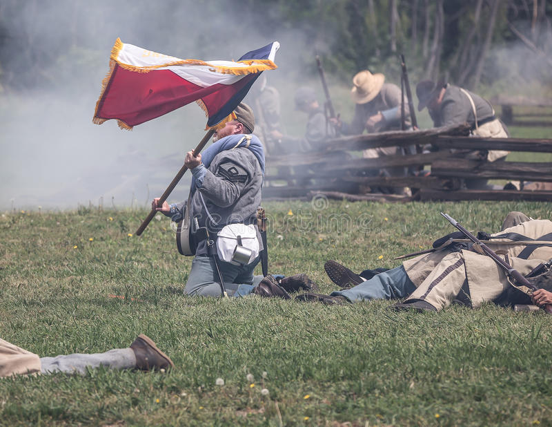 Last Man. Civil War era soldiers in battle at the Dog Island reenactment in Red Bluff, California stock photos