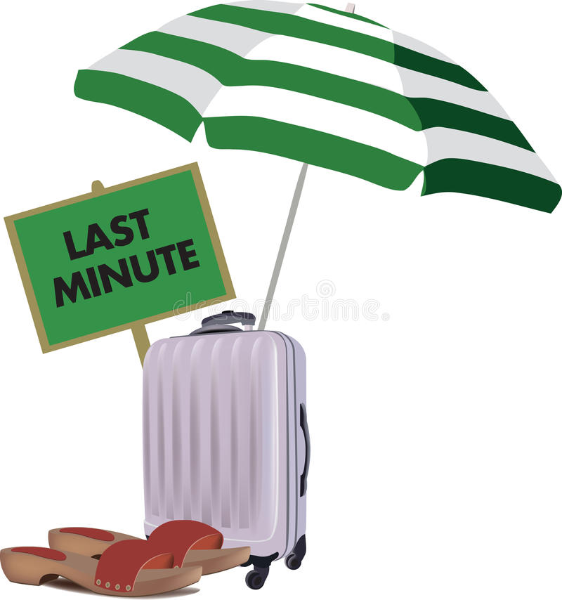 Last minute holiday. Suitcase umbrella and beach sandals vector illustration