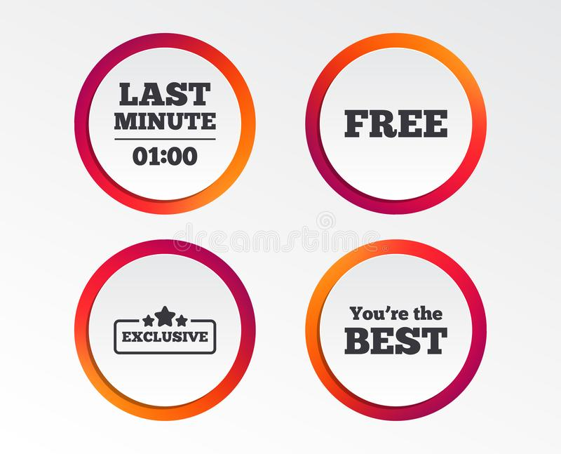 Last minute icon. Exclusive special offer. Last minute icon. Exclusive special offer with star symbols. You are the best sign. Free of charge. Infographic royalty free illustration
