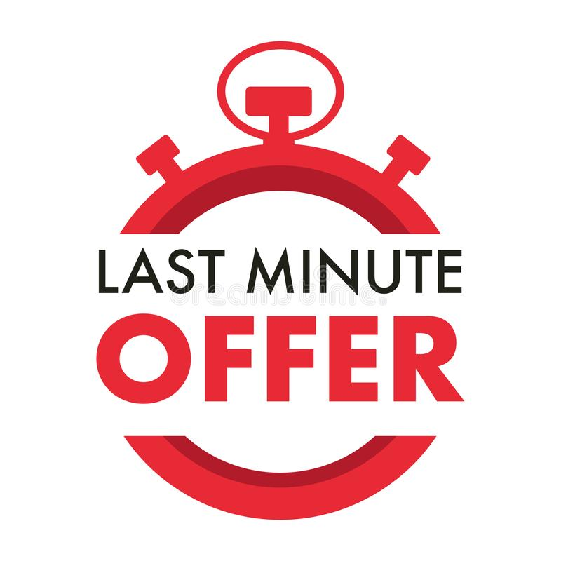 Free Last Minute Offer Isolated Icon, Timer Or Stopwatch Stock Photography - 158541742