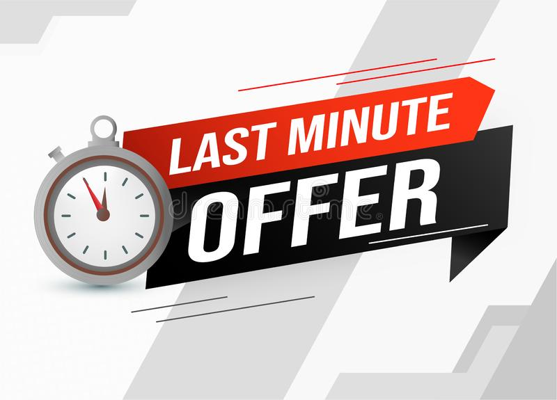Last minute offer watch countdown Banner design template for marketing. Last chance promotion or retail. background banner poster vector illustration