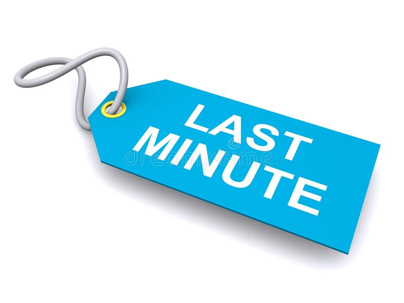 Download Last minute tag or label stock illustration. Image of minute - 40362958