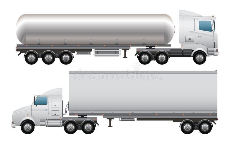 Last och tankbil royaltyfri illustrationer