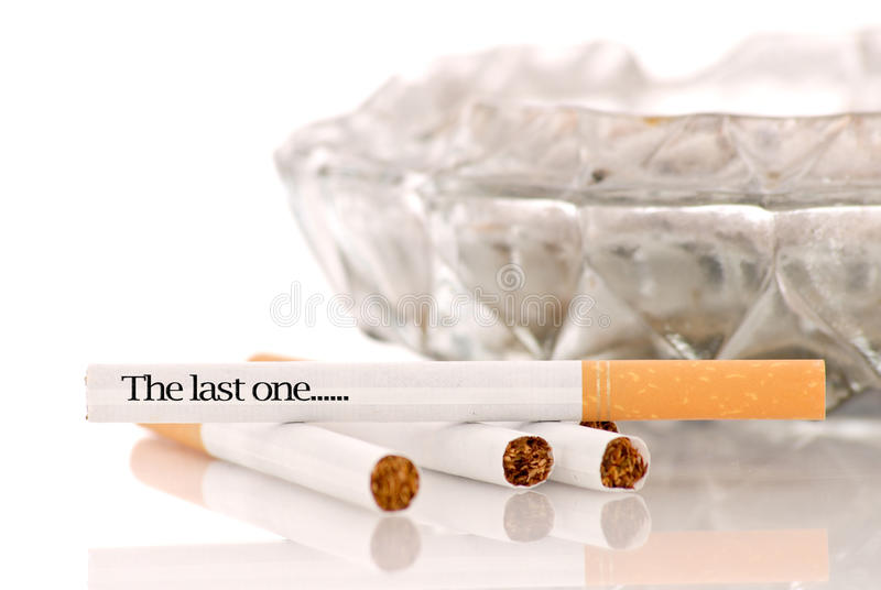The Last One. Written On Cigarette stock image