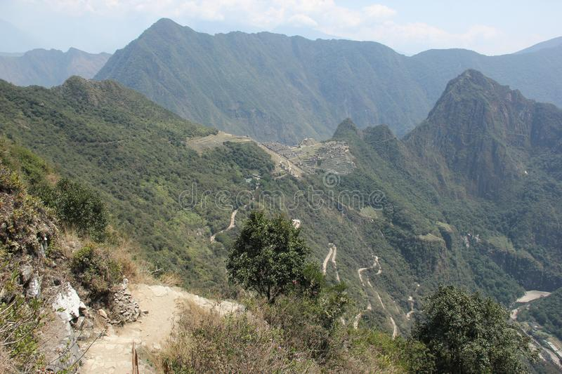 The last part of the Inca Trail. Before arriving at the famous unesco world heritage ruins of Machu Picchu, Peru royalty free stock images