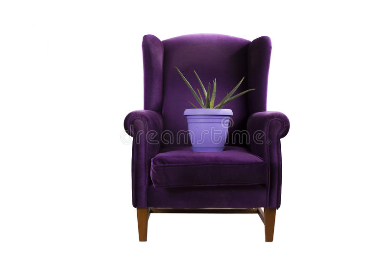 Last peace of green on the purple couch stock image