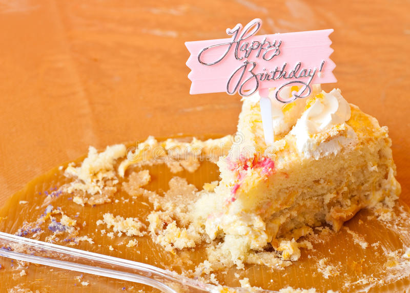Last Piece of the Birthday Cake. On Round Tray With Fork stock photography