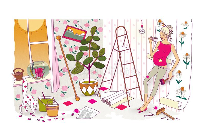 Last preparations before the birth of a child. A pregnant woman with a huge belly does repairs and re-glues the wallpaper. Chaos stock illustration