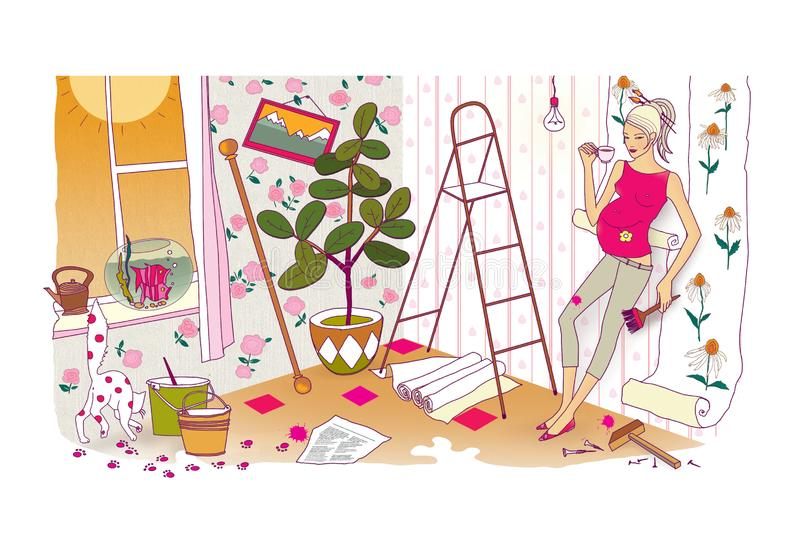 Last preparations before the birth of a child. A pregnant woman with a huge belly does repairs and re-glues the wallpaper. Chaos royalty free illustration