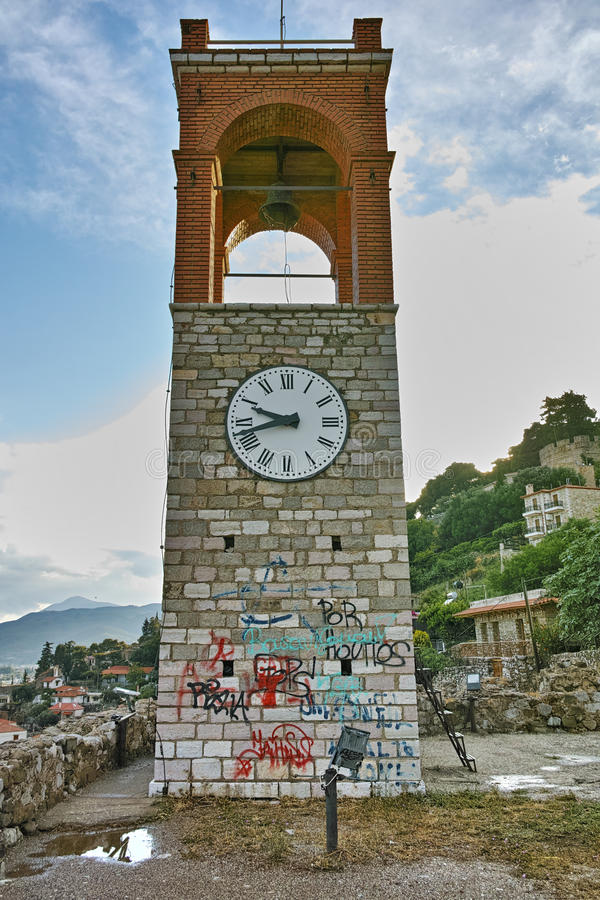 Last Rays of sun over Clock tower in Nafpaktos town, Greece royalty free stock photos