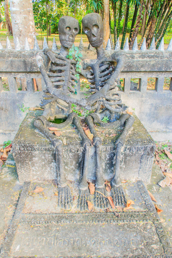The last remaining were the skeletons at Sala Keoku, the park of. Sala Keoku, the park of giant fantastic concrete sculptures inspired by Buddhism and Hinduism royalty free stock photos
