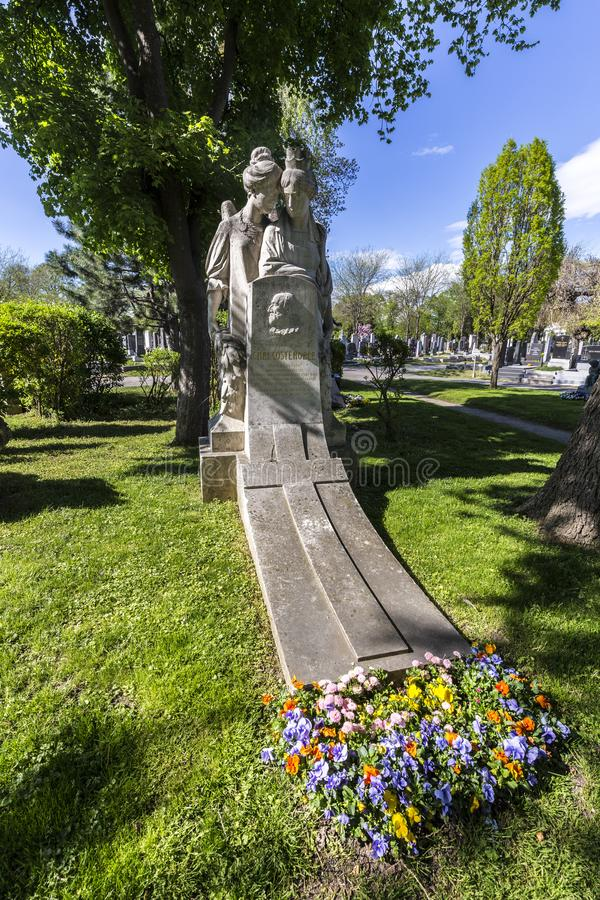 Last Resting Place of Carl Costenoble Grave at the Vienna Central Cemetery. VIENNA, AUSTRIA - APR 26, 2015: Last Resting Place of Carl Costenoble Grave at the stock image