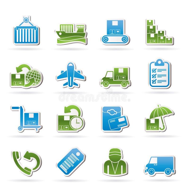 Last-, sändnings- och leveranssymboler royaltyfri illustrationer