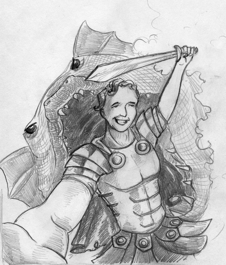 Last selfie of a hero. Picture of ancient hero warrior posing with sword for selfie while there is a dragon with its jaws open behind his back going to eat him royalty free illustration