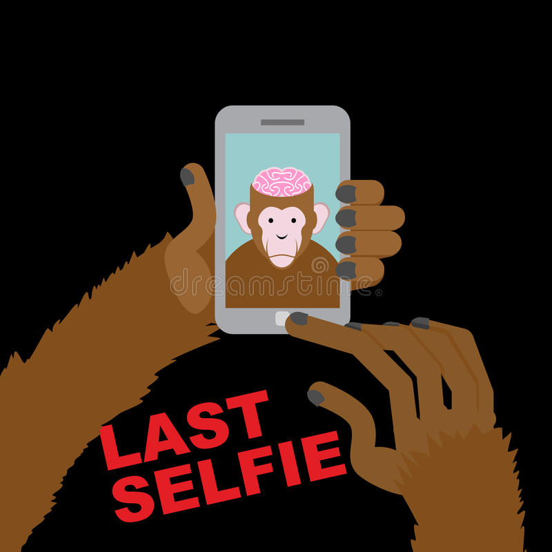 Last selfie before his death. Selfie Monkey with an open skull a vector illustration
