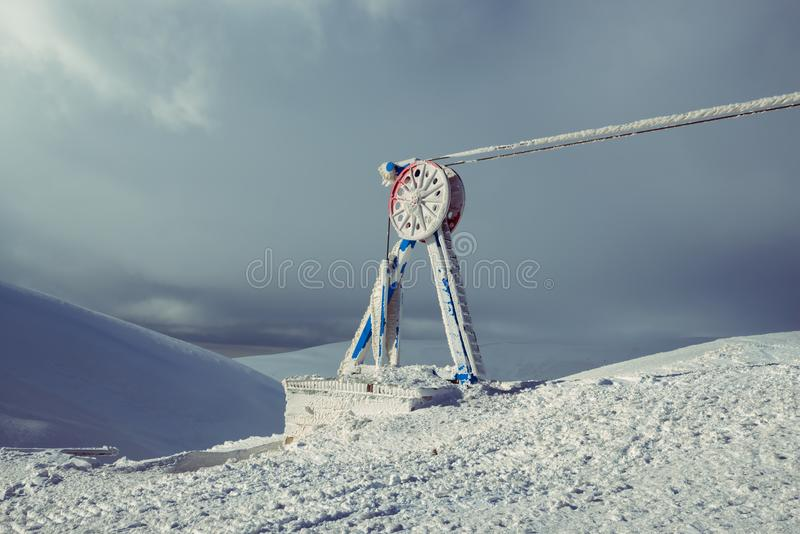 Last station of the cable car, covered with ice and frost royalty free stock photos
