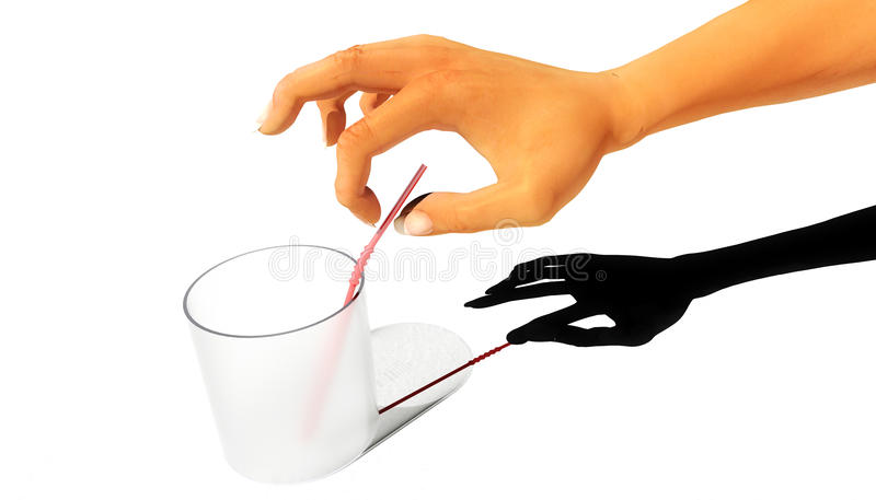 Last Straw. Woman reaching for the last straw vector illustration
