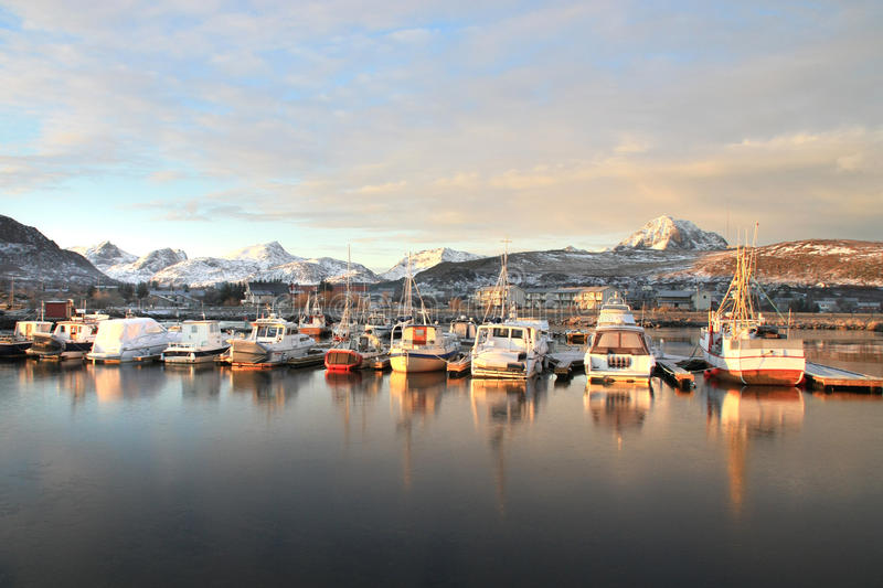 Last sunlight on Gravdals harbour royalty free stock photo
