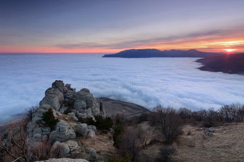 Last sunrays. Evening on top of the southern Demerji, Crimea royalty free stock image