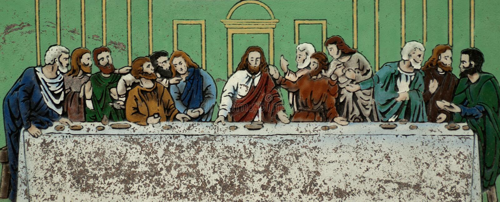 The last supper. Time and weather worn depiction of the last supper stock photos