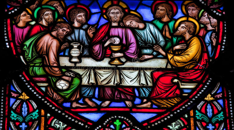 Last Supper. Jesus and the twelve apostles on maundy thursday at the Last Supper royalty free stock image