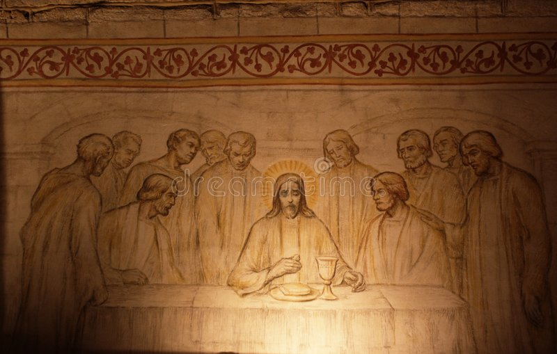 Last supper. Drawing on church wall with last supper of Jesus Christ and eleven apostles around stock images