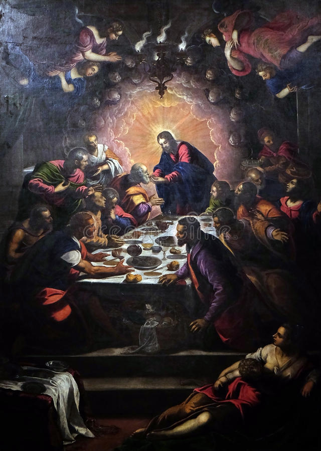 Last Supper. Altarpiece depicting the Last Supper by Tintoretto in Cathedral of St.Martin in Lucca, Italy royalty free stock photo