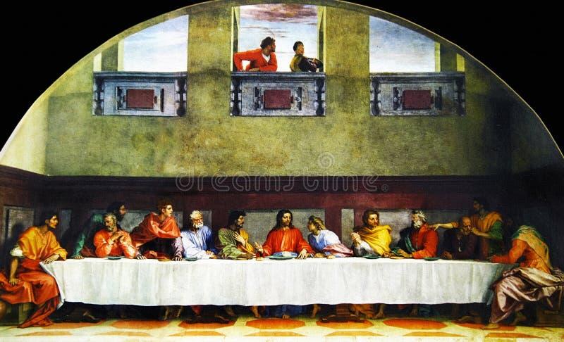Last Supper. Andrea Del Sarto - The Last Supper (1520-25) - Convent of San Salvi, Florence stock images