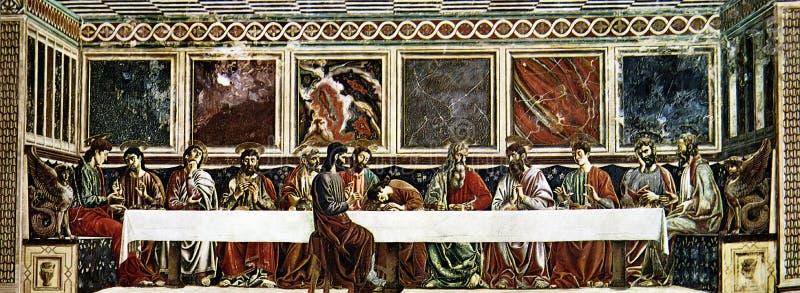 The Last Supper of Christ. Andrea del Castagno - The Last Supper (1444-1445) - Benedictine refectory, Florence stock photo