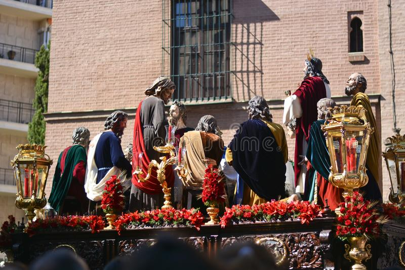 The last supper of Christ with the apostles. Easter week for Christians and processions stock image