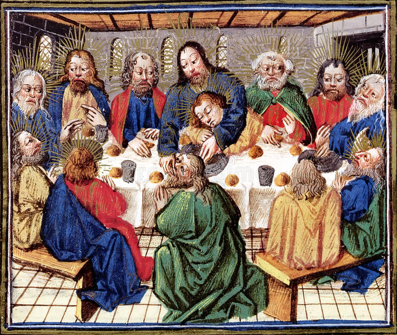 Last Supper of Christ. Biblical theme - New Testament - Last Supper. Reproduction of illustration from a very old Bible, Utrecht (circa 15th century), by an stock photo