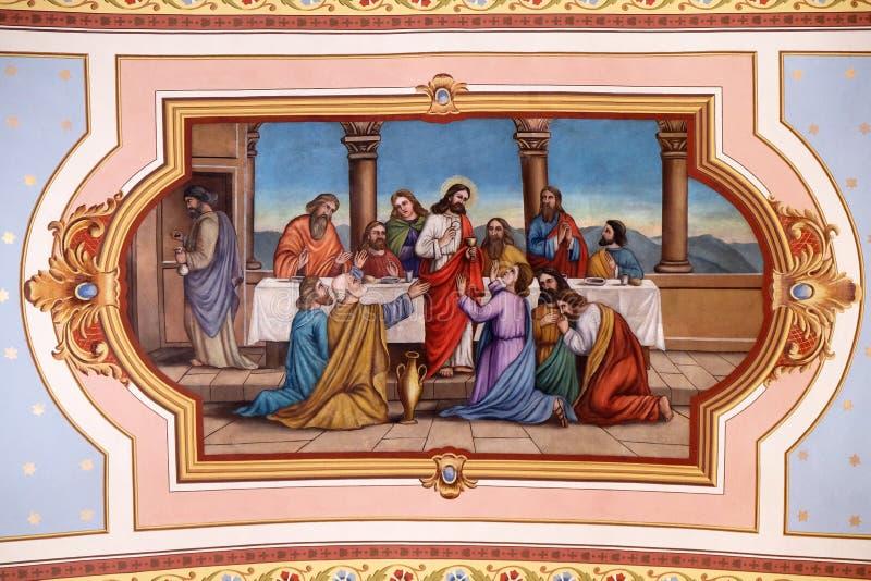 Last Supper. Fresco in the church of Saint Matthew in Stitar, Croatia stock photos
