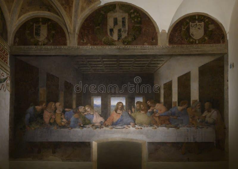 The Last Supper by Leonardo da Vinci in The Church and Convent of Santa Maria delle Grazie, Milan, Italy. royalty free stock image