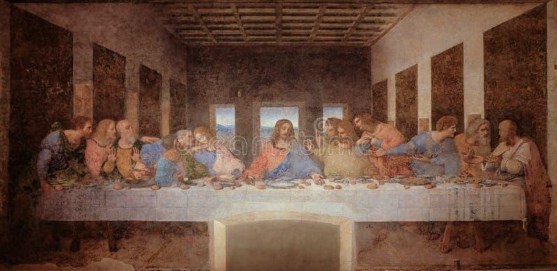 The Last Supper by Leonardo da Vinci in the refectory of the Convent of Santa Maria delle Grazie, Milan black and white. The Last Supper by Leonardo da Vinci in stock images