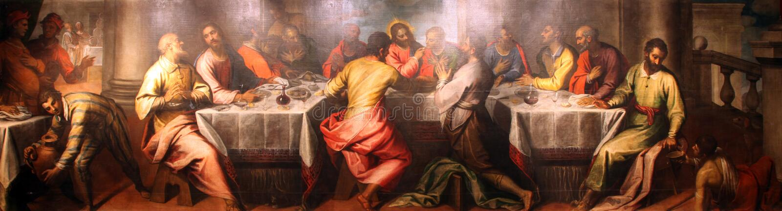 Last Supper. The Last Supper painting at the church altar stock photos