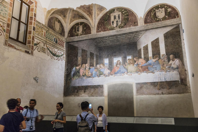 Last Supper painting. The Last Supper mural painting by Leonardo da Vinci from Renaissance, late 1490s after restoration. shows Jesus and his twelve apostles on stock image