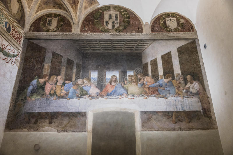 Last Supper painting. The Last Supper mural painting by Leonardo da Vinci from Renaissance, late 1490s after restoration. shows Jesus and his twelve apostles on stock photo