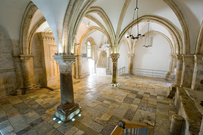 The last supper room. 'The last supper room' on mount Zion is the place where Jesus Christ shared his last supper with his disciples royalty free stock image