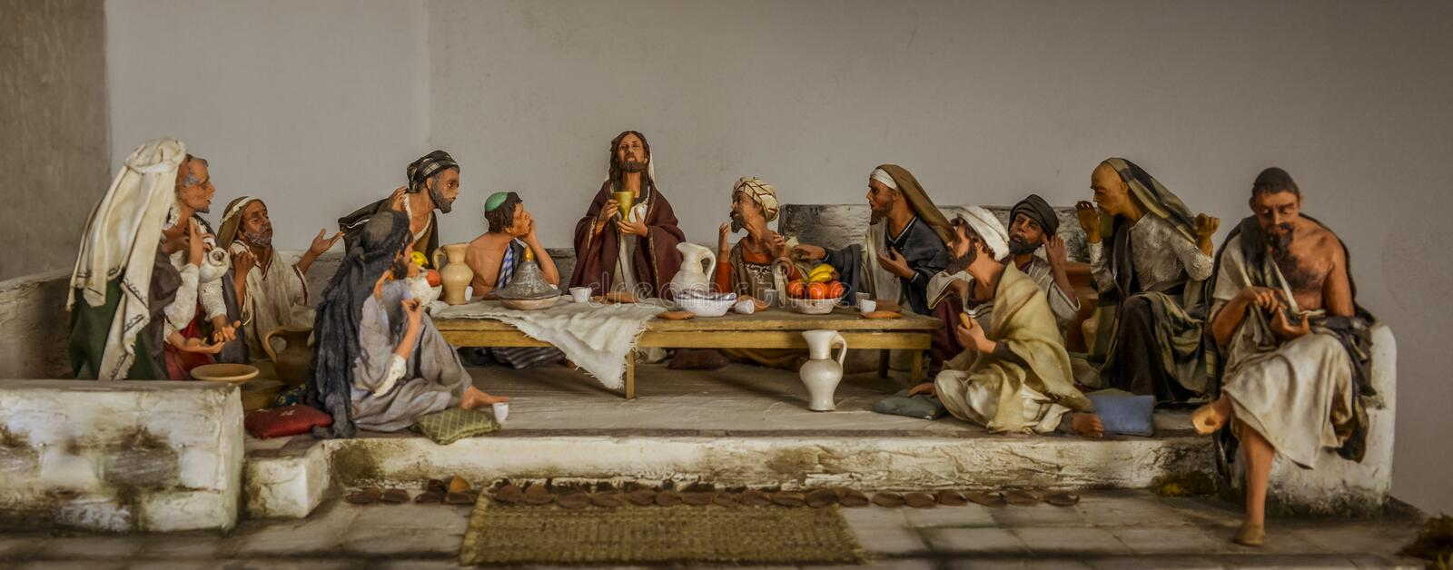 The last supper. Sculptures of jesus and the twelve apostles at the last supper stock photo