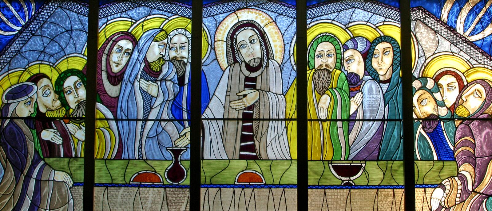 Last Supper. Stained glass church window stock photo