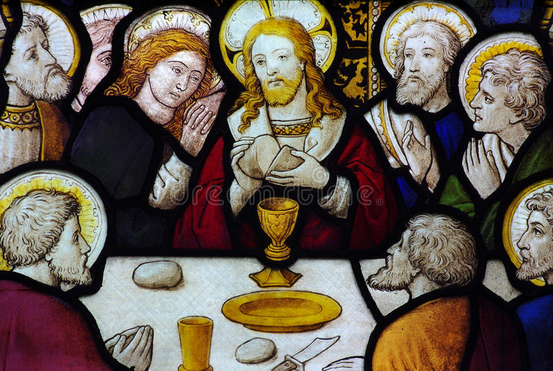The Last Supper in stained glass. A photo of The Last Supper in stained glass royalty free stock images