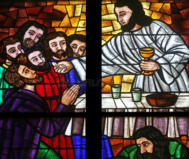 Last supper. Stained glass in Votiv Kirche The Votive Church in Vienna, Austria royalty free stock images