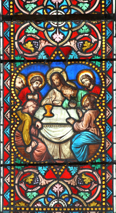 The Last Supper (stained glass window) royalty free stock photos