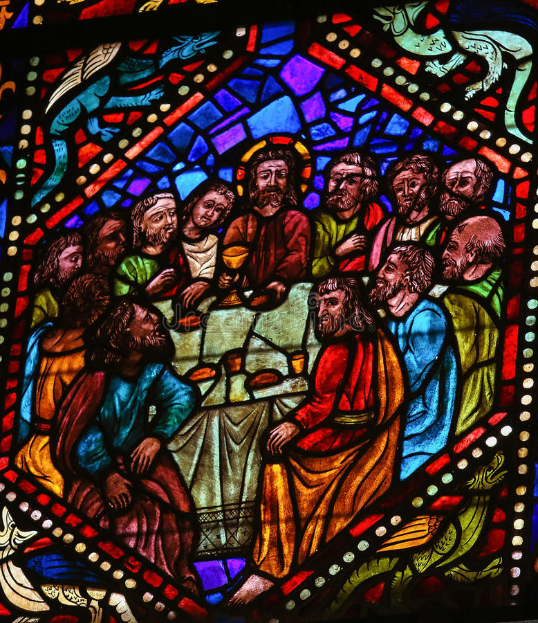Last Supper. Stained glass window depicting Jesus and the apostles at the Last Supper in the cathedral of Leon, Castille and Leon, Spain royalty free stock photos