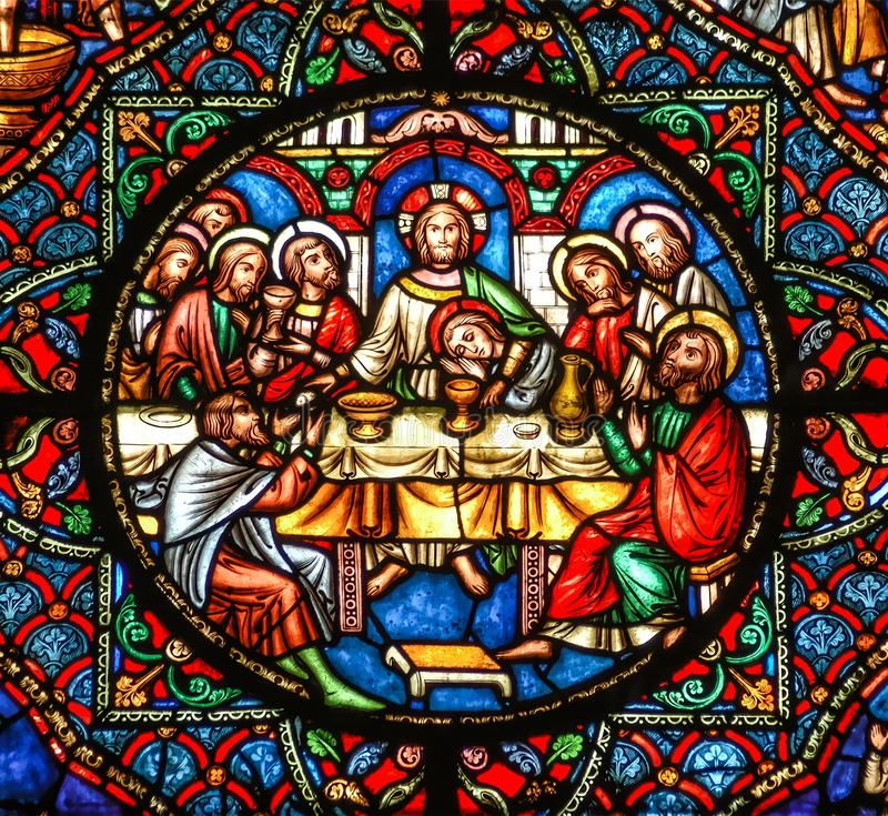 Last Supper stained glass window stock photos