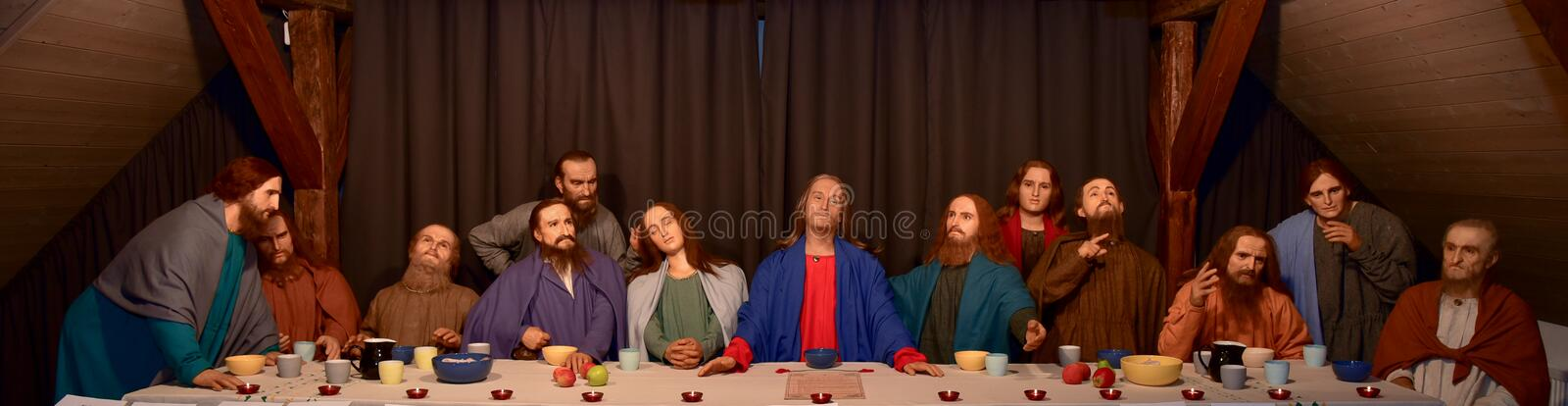 The last supper. Wax figures displaying the last supper of Jesus. The figures belong to Saint Peterburg Wax museum and are exhibited in travelling exhibition in royalty free stock image