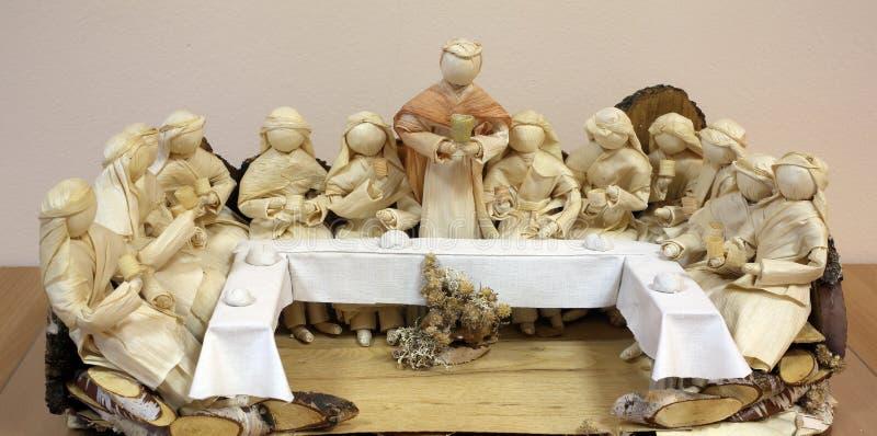 Last Supper. Work of Samuela Premuzic, exhibition of mangers in Zagreb, Croatia royalty free stock photography
