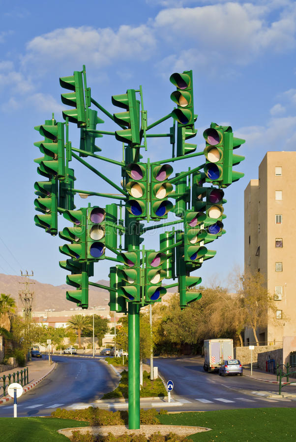 The last traffic signal in Eilat, Israel. In Eilat there are not any traffic signals. On the photo we can see the art's monument to the traffic light stock images