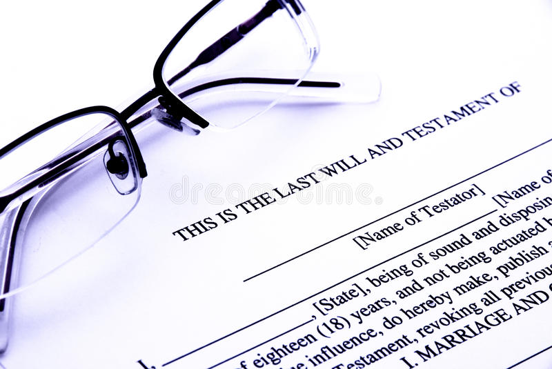 Last will stock photography
