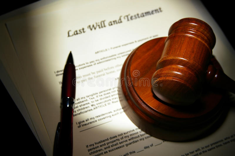 Last will. And Testament with legal gavel stock image